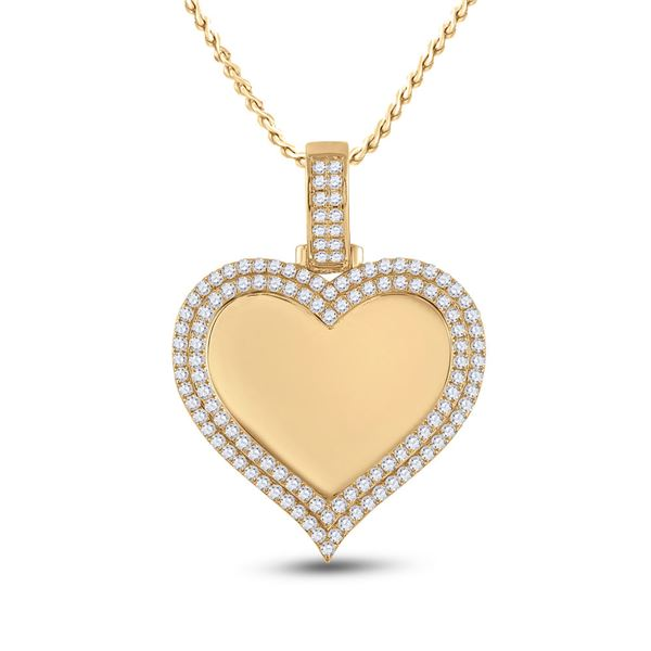 Mens Diamond Heart Picture Memory Pendant 2-1/2 Cttw 14kt Yellow Gold
