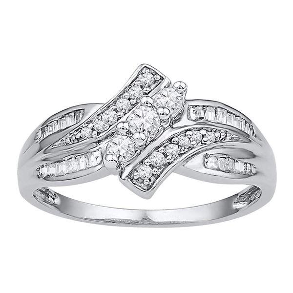 Diamond 3-stone Ring 1/3 Cttw 10kt White Gold