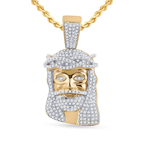 Mens Diamond Jesus Face Charm Pendant 3/4 Cttw 10kt Yellow Gold