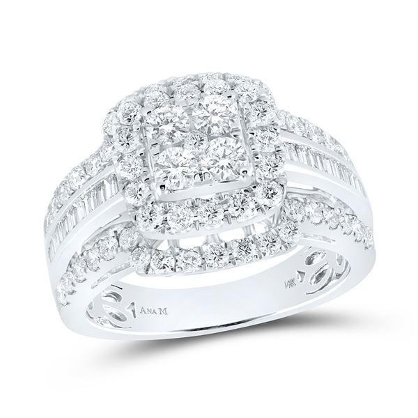 Diamond Bridal Wedding Ring Band Set 1-3/4 Cttw 14kt White Gold