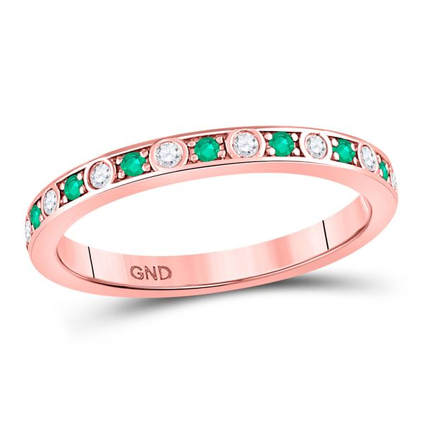 Emerald Diamond Alternating Stackable Band Ring 1/4 Cttw 10kt Rose Gold