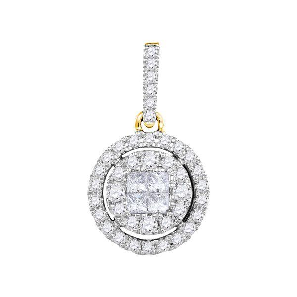 Princess Diamond Framed Cluster Pendant 1/2 Cttw 14kt Yellow Gold