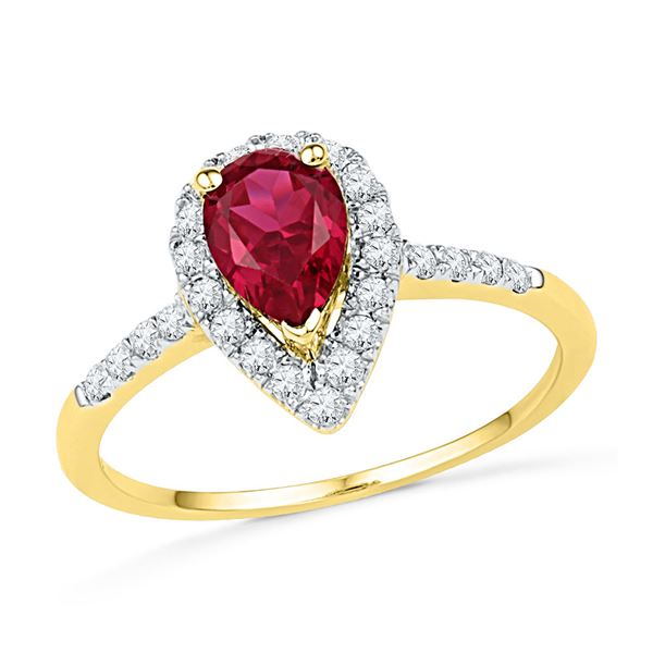 Pear Lab-Created Ruby Solitaire Diamond Frame Ring 1-1/5 Cttw 10kt Yellow Gold