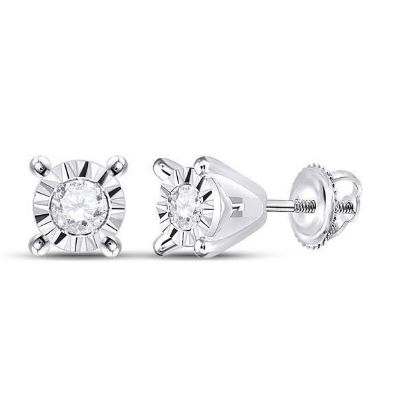 Diamond Stud Earrings 1/20 Cttw 10kt White Gold