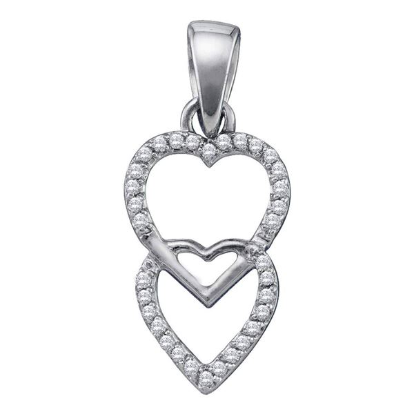 Diamond Double Hanging Heart Pendant 1/10 Cttw 10kt White Gold