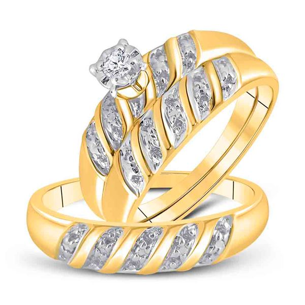 His Hers Diamond Solitaire Matching Wedding Set 1/20 Cttw 10kt Yellow Gold