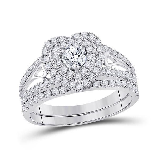 Diamond Heart Bridal Wedding Ring Band Set 1-1/5 Cttw 14kt White Gold