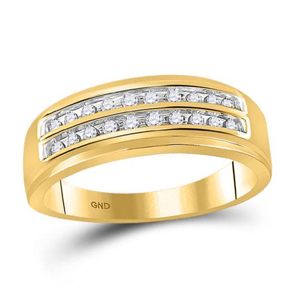 Mens Diamond Wedding 2-Row Band Ring 1/4 Cttw 10kt Yellow Gold