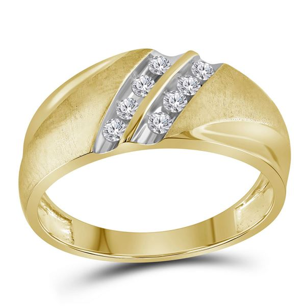Mens Diamond Wedding Double Row Band Ring 1/4 Cttw 10kt Yellow Gold