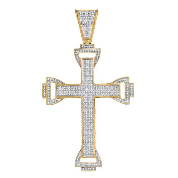 Mens Diamond Capital Cross Charm Pendant 1 Cttw 10kt Yellow Gold