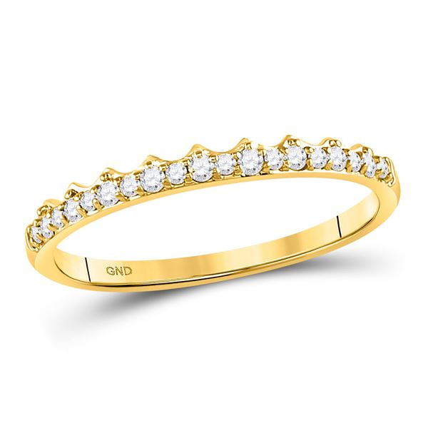 Diamond Slender Scalloped Stackable Band Ring 1/6 Cttw 10kt Yellow Gold