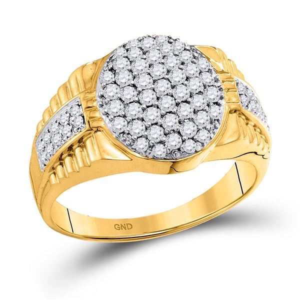 Mens Diamond Oval Cluster Ring 1 Cttw 10kt Yellow Gold