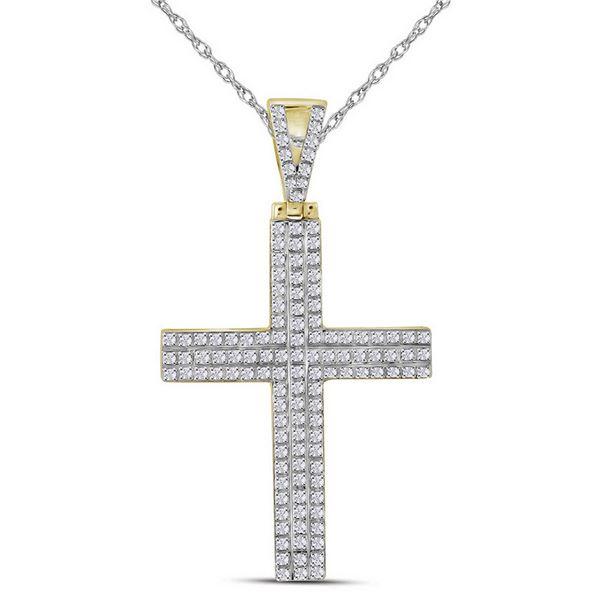 Mens Diamond Cross Charm Pendant 1/3 Cttw 10kt Yellow Gold