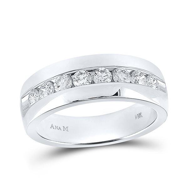 Mens Diamond Wedding Band Ring 1 Cttw 14kt White Gold