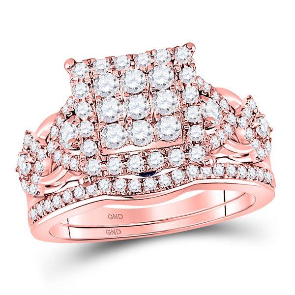 Diamond Bridal Wedding Ring Band Set 1-1/4 Cttw 14kt Rose Gold