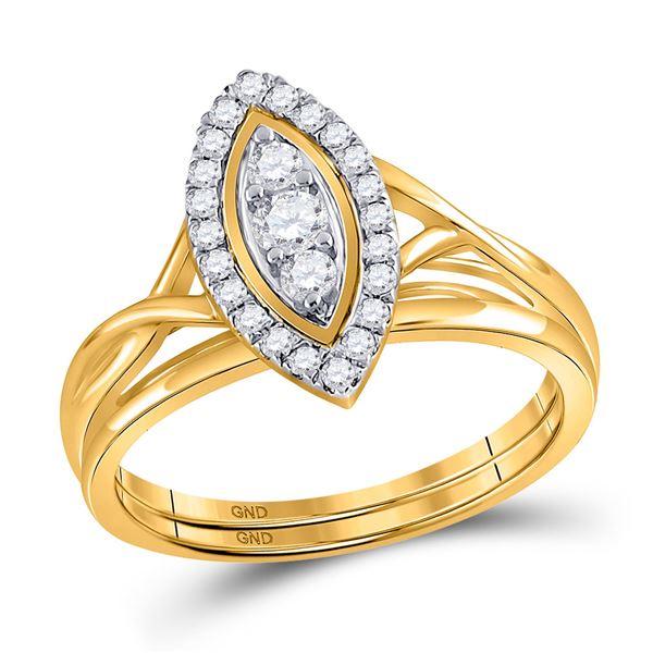 Diamond Bridal Wedding Ring Band Set 1/3 Cttw 10kt Yellow Gold