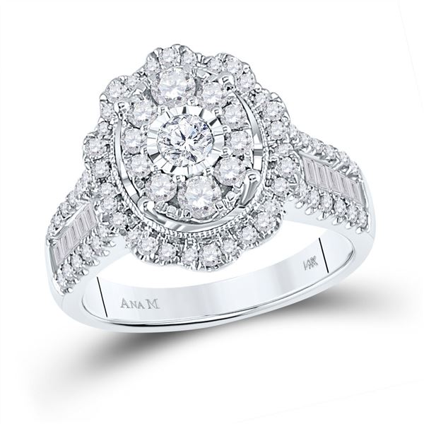 Diamond Right Hand Cluster Oval Ring 1-1/2 Cttw 14kt White Gold
