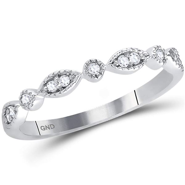 Diamond Classic Stackable Band Ring 1/10 Cttw 14kt White Gold