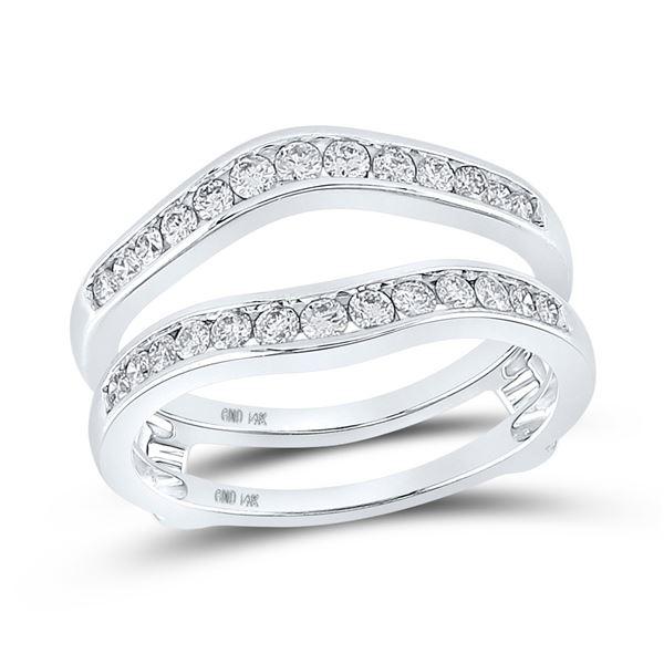 Diamond Bridal Wedding Enhancer Band Wrap Ring 1/2 Cttw 14k White Gold