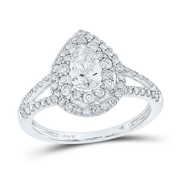 Pear Diamond Halo Bridal Wedding Engagement Ring 1-1/5 Cttw 14kt White Gold