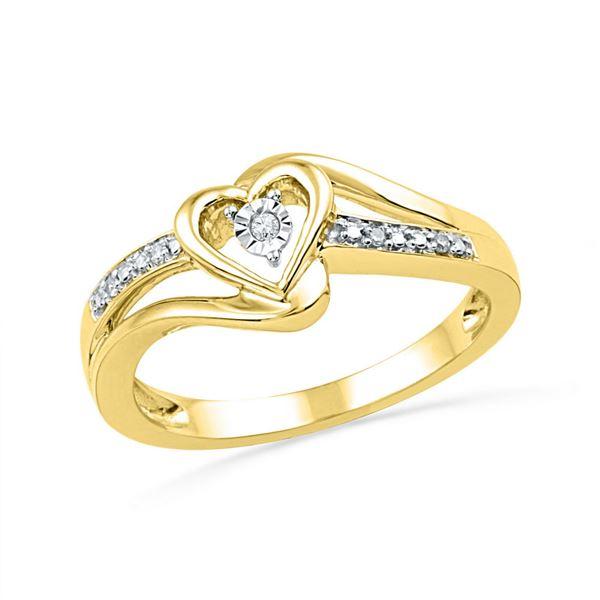 Diamond Heart Promise Ring .03 Cttw 10kt Yellow Gold