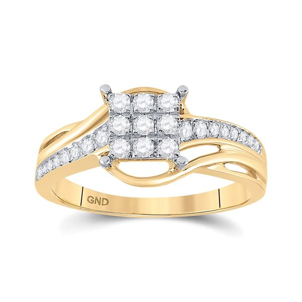 Diamond Square Cluster Ring 1/3 Cttw 10kt Yellow Gold