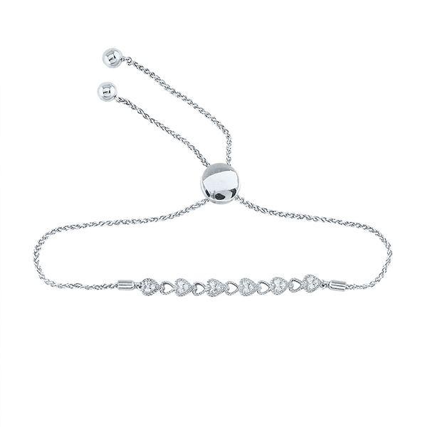 Diamond Heart Bolo Bracelet 1/10 Cttw Sterling Silver