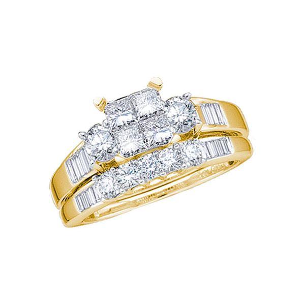 Princess Diamond Bridal Wedding Ring Band Set 7/8 Cttw 14kt Yellow Gold