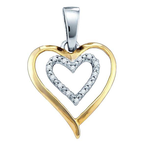 Diamond Double Heart Pendant 1/20 Cttw Sterling Silver