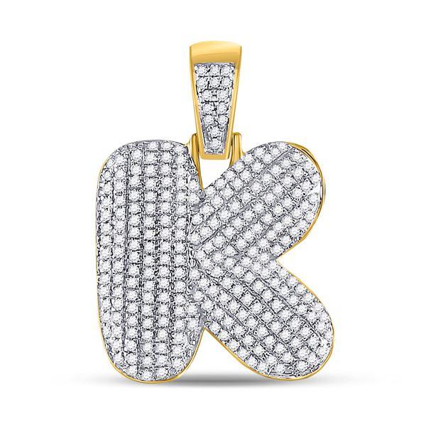 Mens Diamond Bubble K Letter Charm Pendant 3/4 Cttw 10kt Yellow Gold