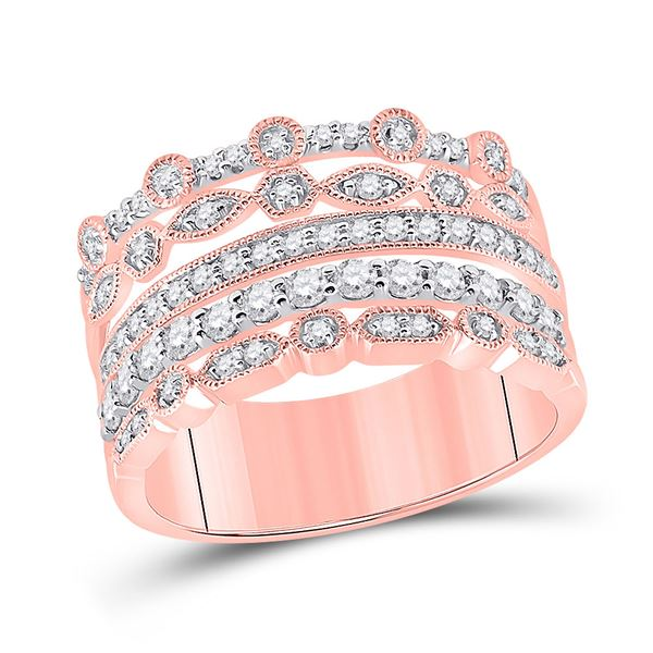 Diamond Stacked Band Ring 1/2 Cttw 10kt Rose Gold