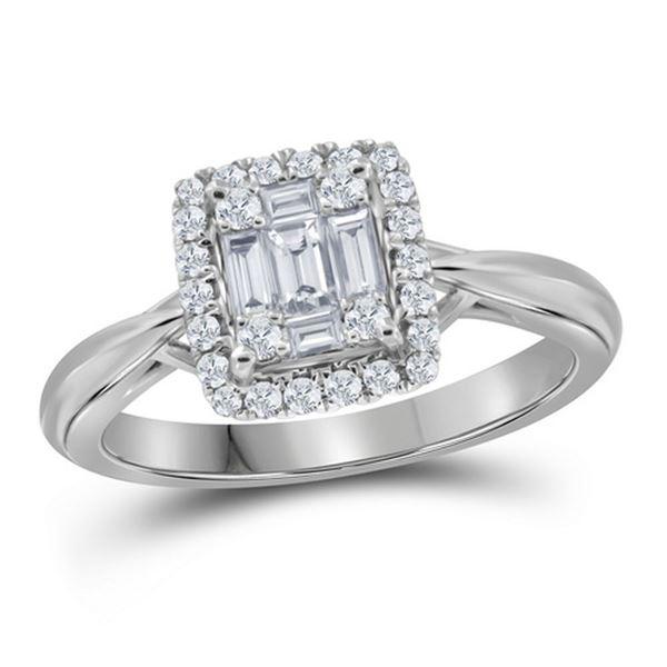 Baguette Diamond Square Bridal Wedding Engagement Ring 3/8 Cttw 18kt White Gold