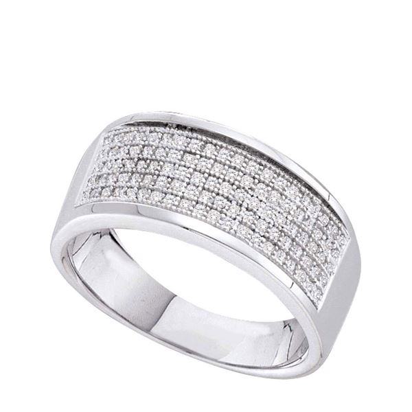 Diamond Pave Band Ring 1/3 Cttw 10kt White Gold