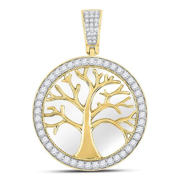 Mens Diamond Tree of Life Circle Charm Pendant 3/4 Cttw 10kt Yellow Gold