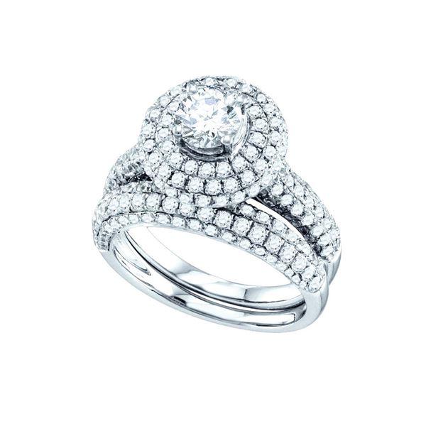 Diamond Bridal Wedding Ring Band Set 2-1/5 Cttw 14kt White Gold