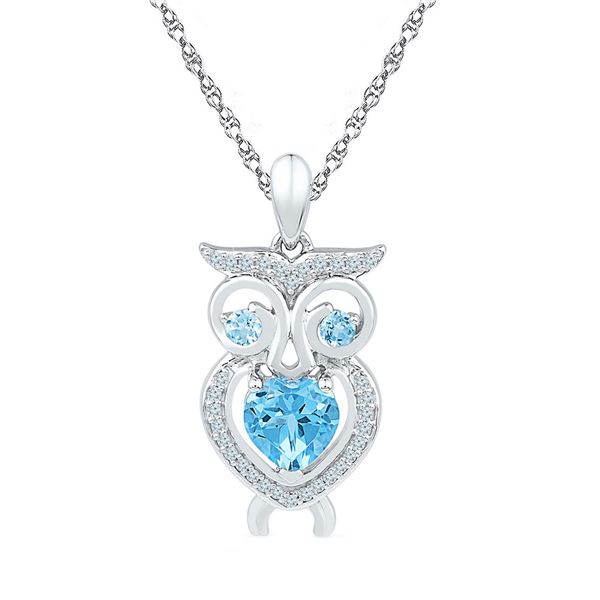 Heart Lab-Created Blue Topaz Owl Pendant 1 Cttw Sterling Silver