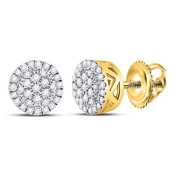 Mens Diamond Circle Cluster Earrings 1/6 Cttw 10kt Yellow Gold