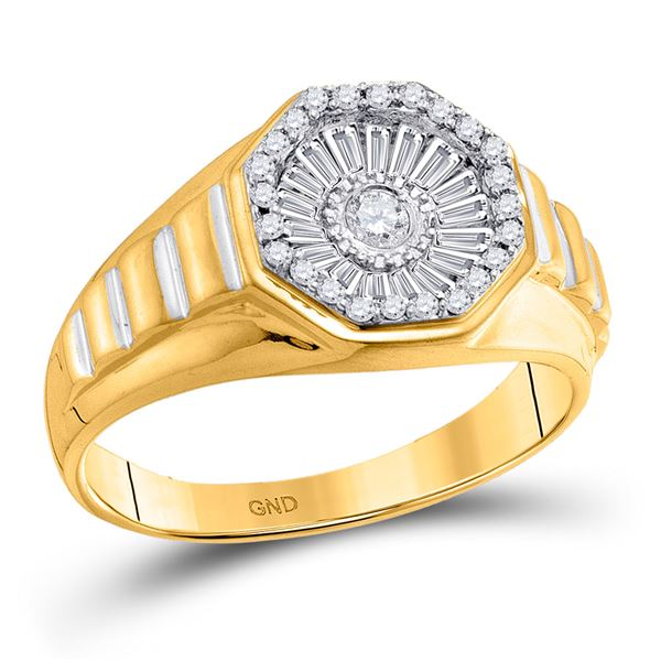 Mens Diamond Two-tone Concave Cluster Ribbed Ring 1/2 Cttw 14kt Yellow Gold