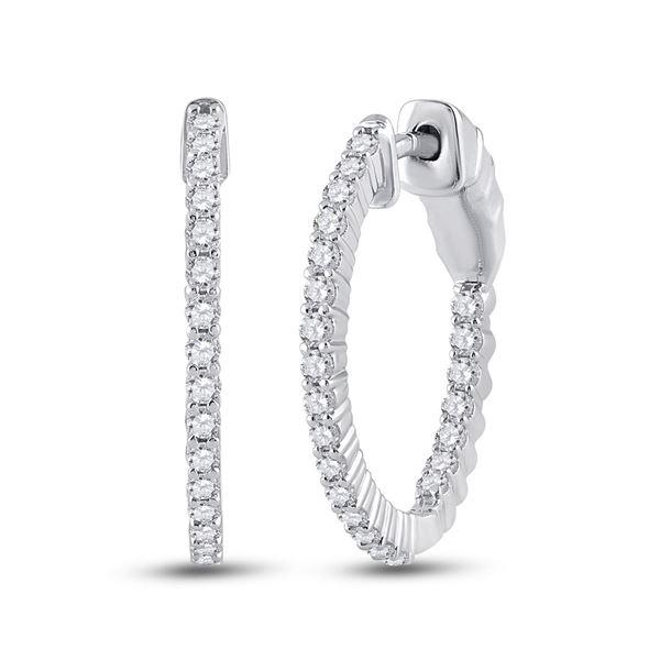 Diamond Single Row Hoop Earrings 1/2 Cttw 14kt White Gold