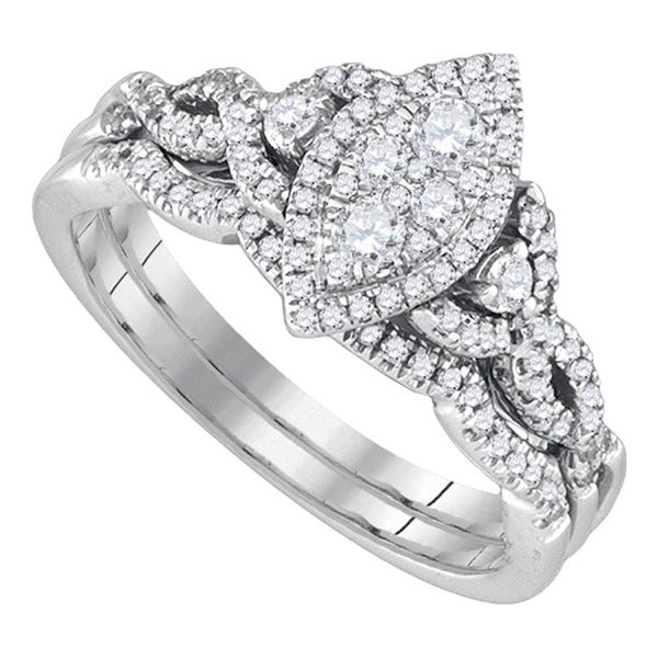 Diamond Marquise-shape Cluster Wedding Bridal Ring Set 1/2 Cttw 14k White Gold