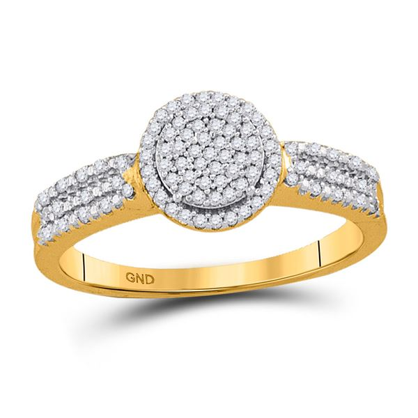 Diamond Circle Frame Cluster Bridal Engagement Ring 1/5 Cttw 10kt Yellow Gold