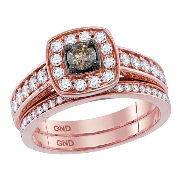 Brown Diamond Bridal Wedding Ring Band Set 1 Cttw 14kt Rose Gold