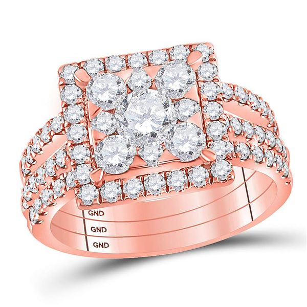 Diamond Square Bridal Wedding Ring Band Set 2 Cttw 14kt Rose Gold