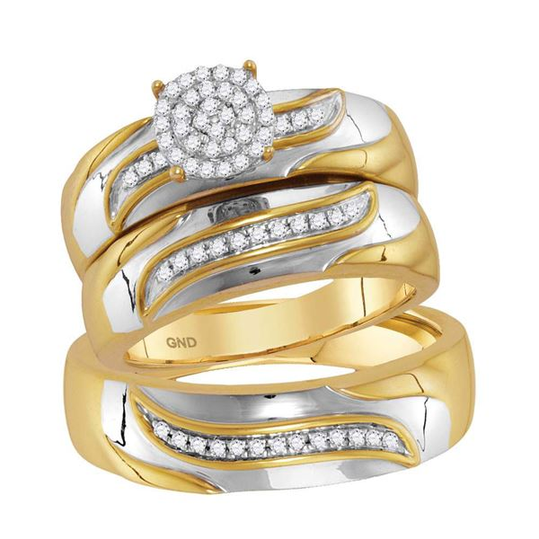 His Hers Diamond Cluster Matching Wedding Set 1/5 Cttw 10kt Two-tone Gold