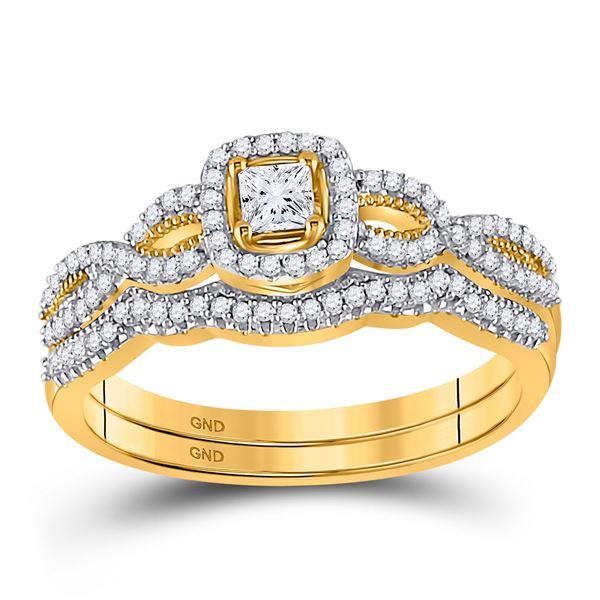 Princess Diamond Twist Bridal Wedding Ring Band Set 3/8 Cttw 10kt Yellow Gold