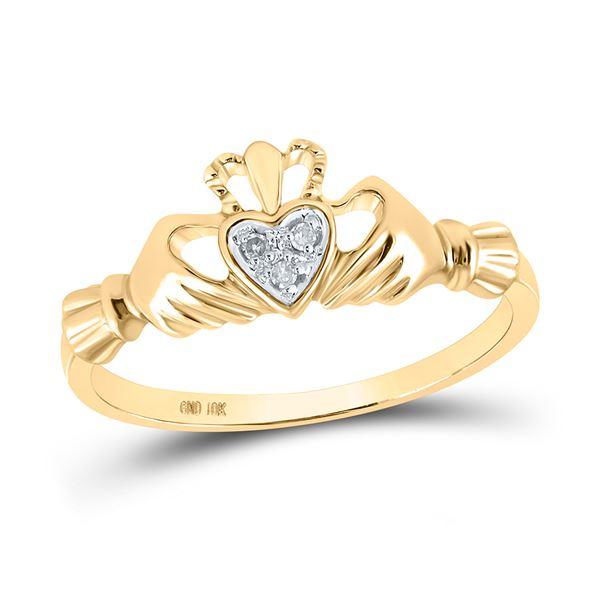 Diamond Claddagh Heart Ring .02 Cttw 10kt Yellow Gold
