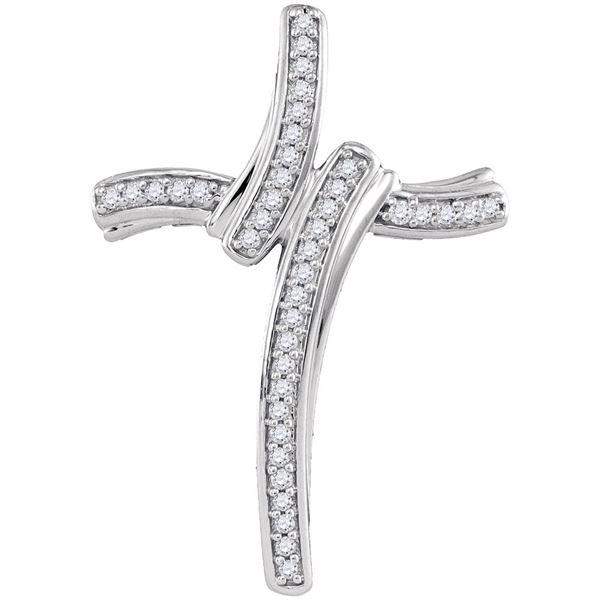 Diamond Cross Pendant 1/8 Cttw 10kt White Gold