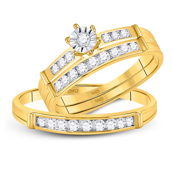 His Hers Diamond Solitaire Matching Wedding Set 1/2 Cttw 14kt Yellow Gold