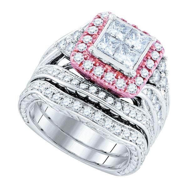Princess Diamond Bridal Wedding Ring Band Set 2-7/8 Cttw 14kt White Gold