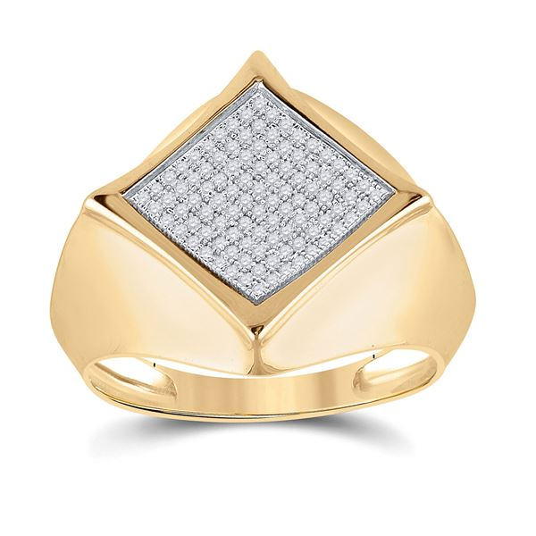 Mens Diamond Offset Square Ring 1/3 Cttw 10kt Yellow Gold